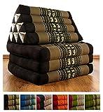 Thaikissen mit 3 Auflagen der Marke Livasia, Kapok Dreieckskissen, asiatisches Sitzkissen, Liegematte, Thaimatte (braun / Elefanten)