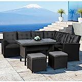Polyrattan Ess- & Sitzgruppe Santa Catalina für 5-7 Personen mit Esstisch & 2 Hockern in schwarz mit Bezügen in Dunkelgrau   ArtLife
