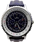 WDXDP Uhr Herren Luxusuhr Automatikwerk Mechanisch Grosses Gesicht 50Mm Edelstahl Schwarz Leder Herrenuhren ChronographLeder Blau