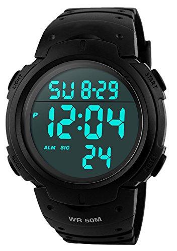 SKMEI Herren Sport Digital Uhren - 50 m Wasserdicht Sport Armbanduhr mit Wecker Stoppuhr, Schwarz Big Face Armbanduhr, läuft mit LED-Hintergrundbeleuchtung Digitaluhren für Männer