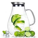 Suteas 2.0 Liter Glaskrug mit Deckel, Wasserkaraffe Krug für heißes/Kaltes Wasser, Eistee und Saftgetränk