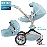 Hot Mom Kombikinderwagen mit Buggy und Babywanne 2018 neues Design - Blue