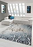 Designer Teppich Moderner Teppich Wollteppich Meliert Wohnzimmer Teppich Wollteppich Ornament Türkis Grau Cream Größe 80x150 cm