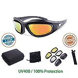 Fahrradbrille Sportbrille Sonnenbrille Joggenbrille Augenschutz - Wecamture - mit 4 Wechselgläsern für Reietn Fahren Radfahren Laufen und Aktivitäten im Freien