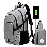 Super Modern, Unisex Schüler- und Sport-Rucksack mit USB-Ladegerät, im Set mit Rucksack und separater Schultertasche Größe L Grau