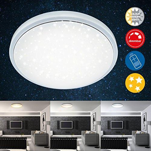 Briloner Leuchten LED Deckenleuchte, Dimmbar, Farbton Einstellbar: Warm Kalt Deckenlampe Inkl. Nachtlicht-Funktion, Timerfunktion, Fernbedienung, D: 38.5 cm, 24W, Metall, Integriert, 24 W, Weiß, 38.5 x 38.5 x 8.3 cm