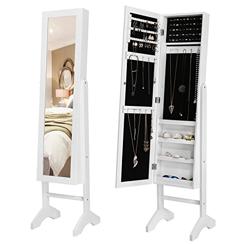 Songmics JBC77W Schmuckschrank und Standspiegel zwei in einem, weiß, 35,5 x 153 x 35 cm