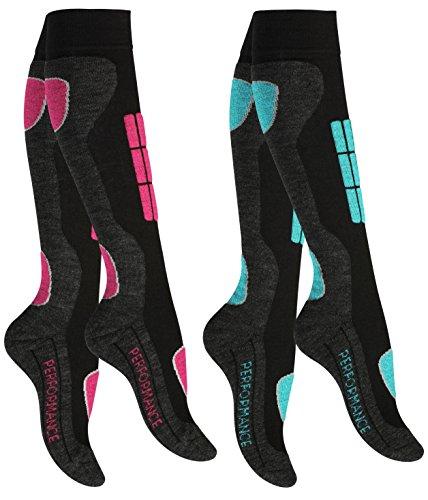 2 Paar Original VCA SKI Funktionssocken, Wintersport Socken mit Spezial Polsterung,Gr.-39/42,Pink/Turquoise