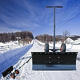 Tatayang Hand Schneeschaufel, Schneeschieber Schneeschild Schneeräumer mit Höhenverstellbar Schiebestange und Räder, Garten-Schnee Reinigungs Werkzeuge
