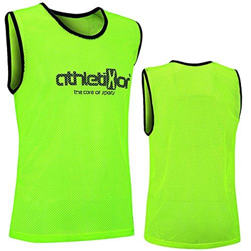10 Fußballleibchen - Trainingsleibchen - Leibchen - Markierungshemden von athletikor (Gelb, Bambinis / E Jugend S: 50X44CM)