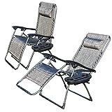 2er Set Liegestuhl Klappbar Ziigo Camping Stuhl Klappsessel mit Getränke-Tablett   Abnehmbaren Kopfkissen   Atmungsaktiven Liegefläche   Wippfunktion Klappstuhl Garten Stühle Sessel Eigengewicht 8,3kg