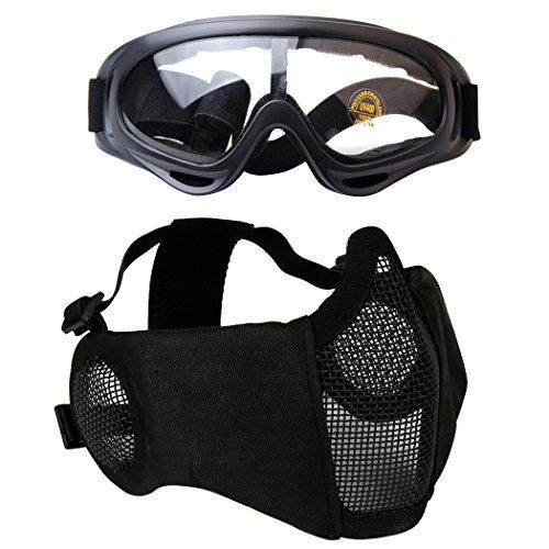 Fansport Paintball Maske, Airsoft Masken Softair Maske Mesh-Maske Airsoft Paintball Maske Schutzbrille Airsoft Taktische Maske Paintball Schutzbrille Klar Stahl Maske üBerbrille Airsoft Mesh Maske