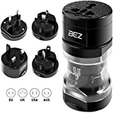 Bez Reisestecker Adapter, Universal Reiseadapter, Travel Adapter Internationaal stekker [US UK EU au] 5-stuks set met reisebeutel