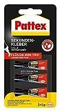 Pattex Sekundenkleber Flüssig Mini Trio / Lösungsmittelfreier Flüssigkleber / Schnell trocknend, wasserfest und transparent / 3 x 1g
