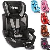 KIDUKU Autokindersitz Kindersitz Kinderautositz, Sitzschale, universal, zugelassen nach ECE R44/04, in 6 verschiedenen Farben, 9 kg - 36 kg 1 - 12 Jahre, Gruppe 1 / 2 / 3 (Schwarz/Grau)