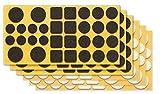 clapur Filzgleiter-Set (192 Stk.) Hochwertige Nadelfilz-Gleiter, selbstklebend, extra druckfest. Für Möbel, Stühle und Tische - Farbe: schwarz / weiss, Form: rund / eckig