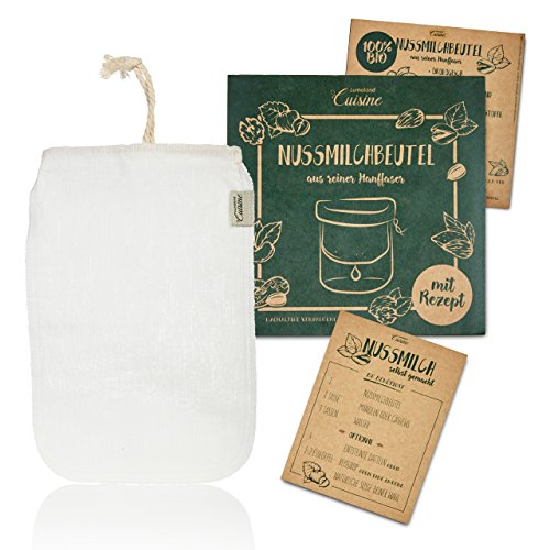 Lumaland Cuisine Nussmilchbeutel aus reinen Fasern für vegane Nussmilchherstellung inklusive Rezept in nachhaltiger Verpackung Mandelmilch selber machen perfekter Milchersatz 100 % Bio aus Hanf