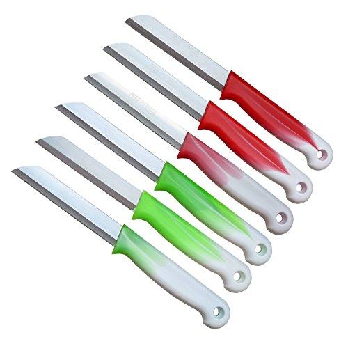 6er Messer Set Solingen / Gemüsemesser scharf gezahnt / Welle / Küchenmesser Schälmesser - Obstmesser - Allzweckmesser aus Bandstahl - Germany rostfrei gezackt 18 cm Gesamtlänge - 8,5 cm Klinge