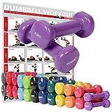 POWRX Vinyl Hanteln Paar Ideal für Gymnastik Aerobic Pilates 0,5 kg - 10 kg I Kurzhantel Set in versch. Farben