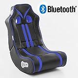 WOHNLING Soundchair NINJA in Schwarz Blau mit Bluetooth | Musiksessel mit eingebauten Lautsprechern | Multimediasessel für Gamer | 2.1 Soundsystem - Subwoofer | Music Gaming Sessel Rocker Chair