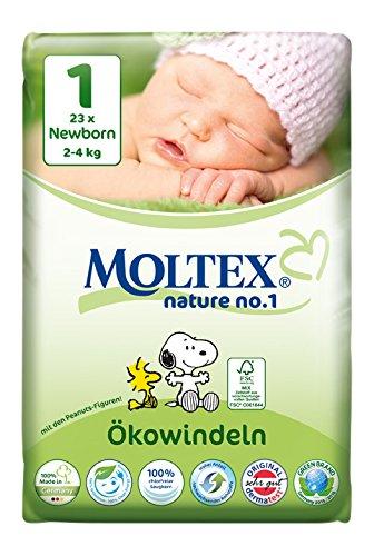Moltex Nature No. 1 Ökowindeln, Größe 1 (Newborn), 2-4 kg, (1 x 23 Windeln)