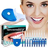 Teeth Whitening Kit Zahnaufhellung Set für Weisse Zähne - Professionelle Zahn Whitening Kit Bleaching Zähne -10x3ml Teeth Whitening Gel 5xDeep Cleaning Tooth Wipe 2xDental Trays Gel Kit 1xLaserlicht