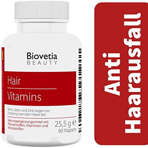 Biovetia Anti Haarausfall Kapseln, gegen Haarausfall bei Frauen und Männer schnell stoppen + Haarwachstum beschleunigen, 60 Kapseln