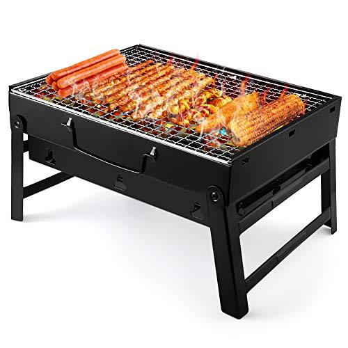 UTTORA Grill, Tragbarer Gefalteter Holzkohlegrill Tisch Outdoor Edelstahl Rauch BBQ für Picknick Garten Terrasse Camping Reise Convient 2 à 5 personnes (38 * 27 * 20cm)