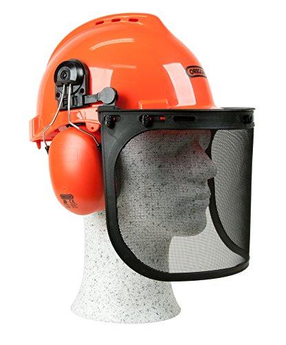 Kopfschutz/Schutzhelmkombination Yukon, stoßfester und atmungsaktiver PP – Helm, bequemer Gehörschutz, breites und robuste Netzvisier aus Edelstahl für den Augenschutz, SNR-Wert: 25,9 dB