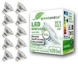 10x greenandco CRI90+ LED Spot ersetzt 45 Watt GU5.3 MR16 Halogenstrahler, 6W 470 Lumen 3000K warmweiß SMD LED Strahler 36° 12V AC/DC Glas mit Schutzglas, nicht dimmbar, 2 Jahre Garantie