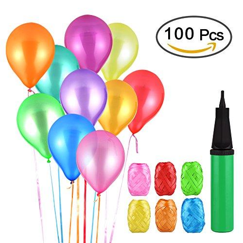 VEGKEY Luftballons Bunt, 100 Luftballons und 1 Ballonpumpe, Bunte Ballons Partyballon, Farbige Ballons und Ballonpumpe für Geburtstagsfeiern, Party, Hochzeitsfeiern, Weihnachten