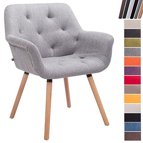 CLP Esszimmerstuhl CASSIDY mit Stoffbezug und sesselförmigem gepolstertem Sitz | Retro-Stuhl mit Armlehne und einer Sitzhöhe von 45 cm | Bis zu 150 kg belastbarer Polsterstuhl Grau, Gestellfarbe: Natura