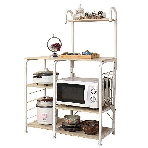 Soges 3+4 Ablage Mikrowellenhalter Küchenregal Bäcker Regal Standregal, multifunktionale Küche Aufbewahrungsregal Küchenregallagerung Küchenwagen, Weiß 172-MP