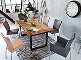 SAM Stilvoller Esszimmertisch Quarto 180 x 90 cm, nussbaumfarbig, Akazienholz-Tisch mit schwarz lackierten Beinen, Baum-Tisch mit naturbelassener Optik