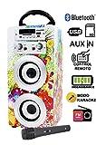 Karaoke Anlage Bluetooth - Kinder Karaoke Player - Mikrofon mit Lautsprecher Boxen Bluetooth Akku-Lautsprecherbox (USB-SD-Slot, Aux, UKW-Radio, Fernbedienung) Modell-1