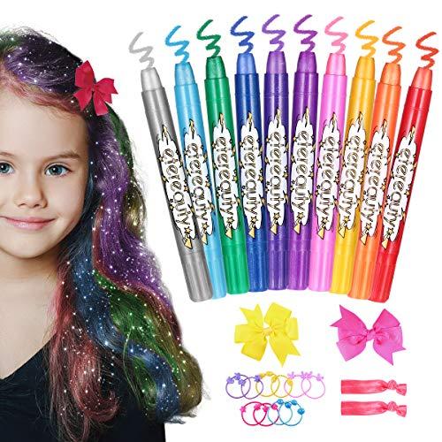 Haarkreide für Mädchen, ETEREAUTY auswaschbare Haarkreide Kinder in 10 Farben, Haarfärbekreide mit Schmetterling-Haarklammern für Mädchen, Mädchen Geschenk, Mädchen Spielzeug, Geschenke für Kinder