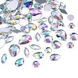108 Stück AB Klar Edelsteine Acryl Aufnähen Strass Facette Flatback Kristall Knöpfe für Kleidung Kleid Dekorationen