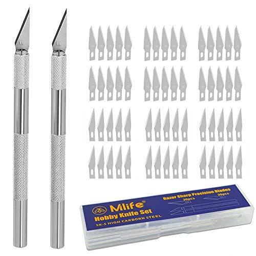 Mlife Precision Carving Craft Messer Set 60 Ersatzklingen Skalpell Schnitzmesser für DIY Art Work Cutting