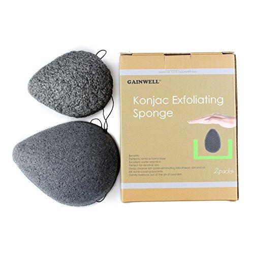 Natur Konjac Gesichtsschwamm, 2er-Packung, 100% natürlicher Schwamm mit Bambuskohle, GAINWELL