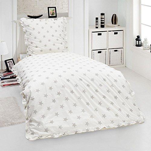Dreamhome24 Renforcé Bettwäsche Rüschen 135x200 Landhaus Uni Farben Reißverschluß Romantik, Farbe:Sterne-Weiss