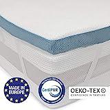 Dreamzie Viscoelastischer Topper H3 90 x 200 cm - Orthopädische Matratzenauflage in Europa hergestellt und Oeko TEX Zertifiziert - 4 Eckbänder - Bezug aus Bambusviskose mit Reißverschluss