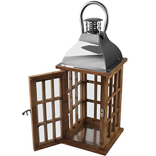 Holzlaterne mit Metalldach 40x17x17cm Gartenlaterne Holzlaterne Windlicht mit Henkel Holzgestell Echtglasscheiben Kerzenhalter Gartenbeleuchtung Dekoration