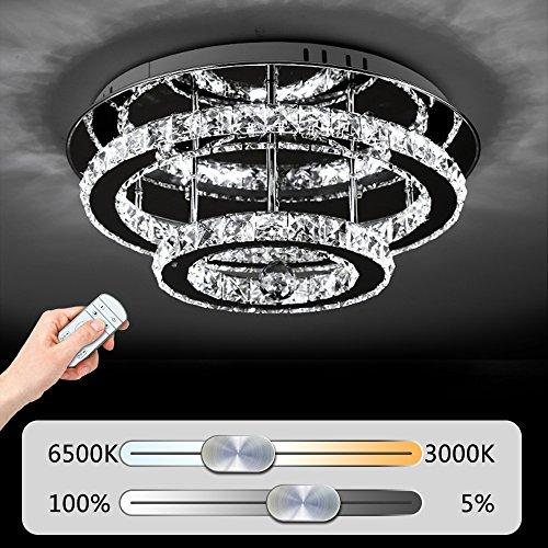 JDONG Hochwertige LED Kristall Deckenleuchte Deckenlampe 36W Diamant Style Kronleuchter Wohnzimmer Schlafzimmer Esszimmer Helligkeit und Farbtemperatur dimmbar mit Fernbedienung (silber) 10816-36W-WJ