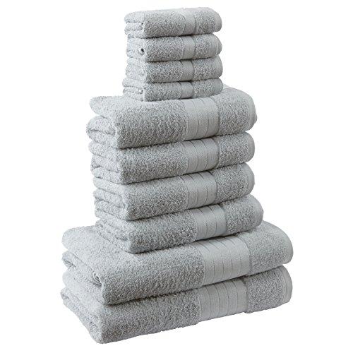 Dreamscene Luxus 100% ägyptische Baumwolle 10-teiliges Badezimmer Handtuch Bale Face Bath Hand Geschenk Set, silber grau, 10-tlg.