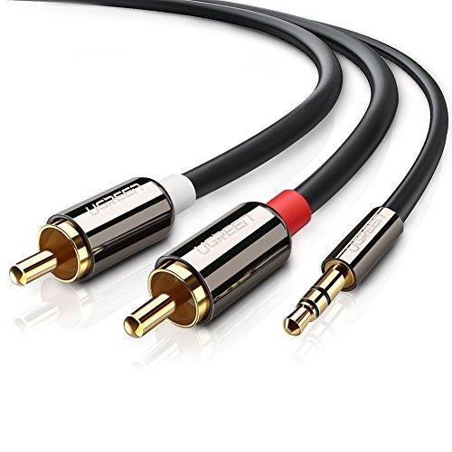 UGREEN Cinch Kabel 2m Stereo 3.5mm Klinke auf 2 Cinch Y Splitter Chinch Kabel Audiokabel Klinkenkabel aux kabel mit Winzigem Metallstecker, Metallgehäuse