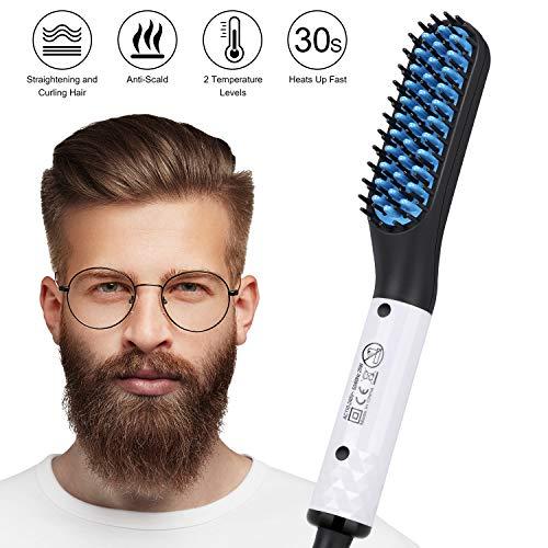 Männer Schnelle Bart, Tencoz Multifunktionale Keramische Schnelle Bart kamm Glattes Haar kämmen für Männer Elektrische Glätteisen Haarglättung Tragbare Bürste mit Anti-Verbrühungsfunktion