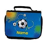Striefchen Kulturtasche für Jungen - Fußball - mit Aufdruck des Wunschnamen