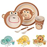 BIOZOYG Kinder Geschirr Set aus Bambus 5 teilig I Kindergeschirr Set bpa frei I Tafelservice aus Kinderbesteck Müslischale Trinkbecher Kinderteller I Recycling Natur Material