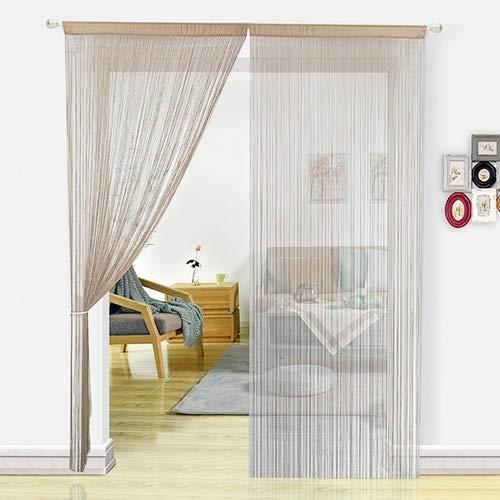 HSYLYM Fadenvorhang Schlafzimmertür, als Insektenvorhang Oder Raumteiler verwendbar, Polyester, Natur, 90x200cm