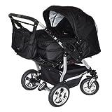 Adbor Duo 3in1 Zwillingskinderwagen mit Babyschalen - silbernes Gestell, Zwillingswagen, Zwillingsbuggy Farbe Nr. 30s schwarz/schwarz